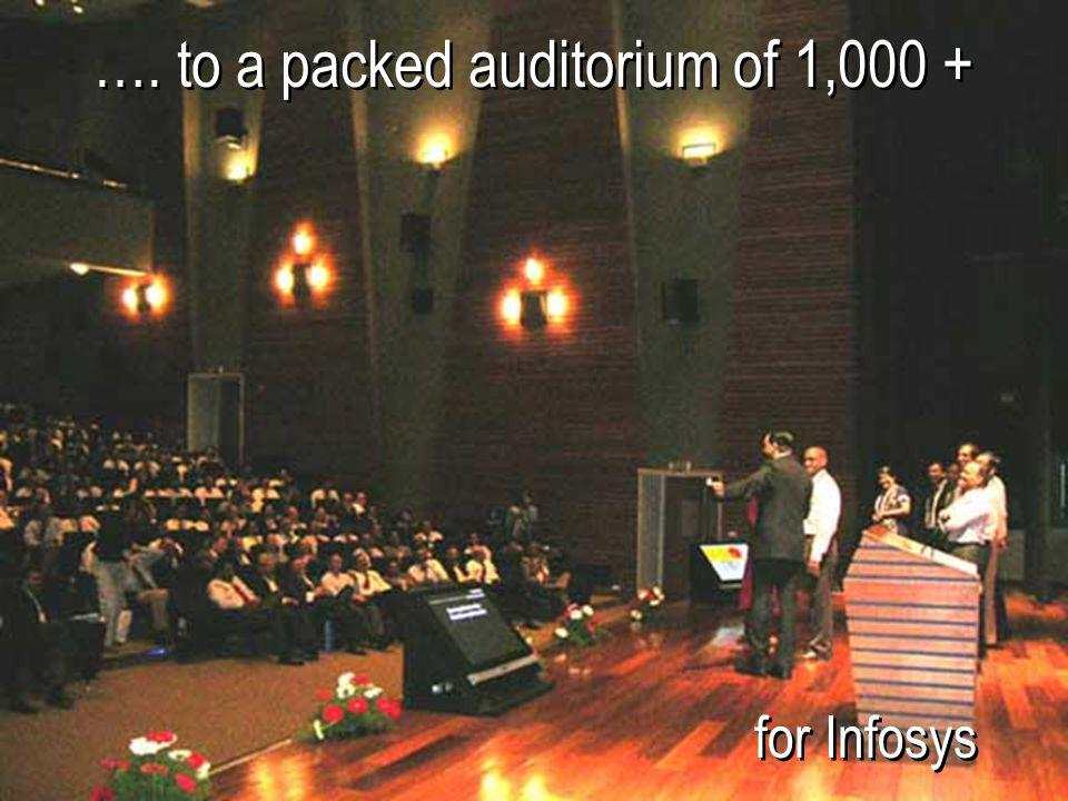 …. to a packed auditorium of 1,000 +