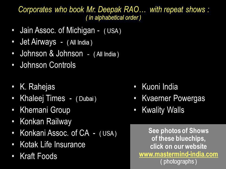 Jain Assoc. of Michigan - ( USA ) Jet Airways - ( All India )