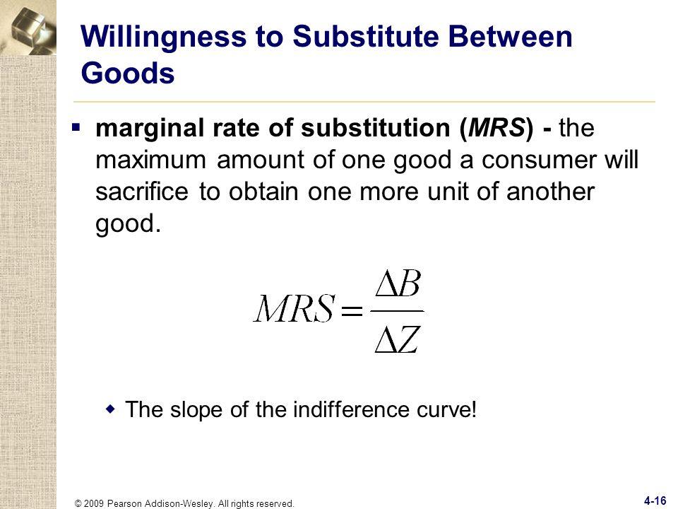 Willingness to Substitute Between Goods