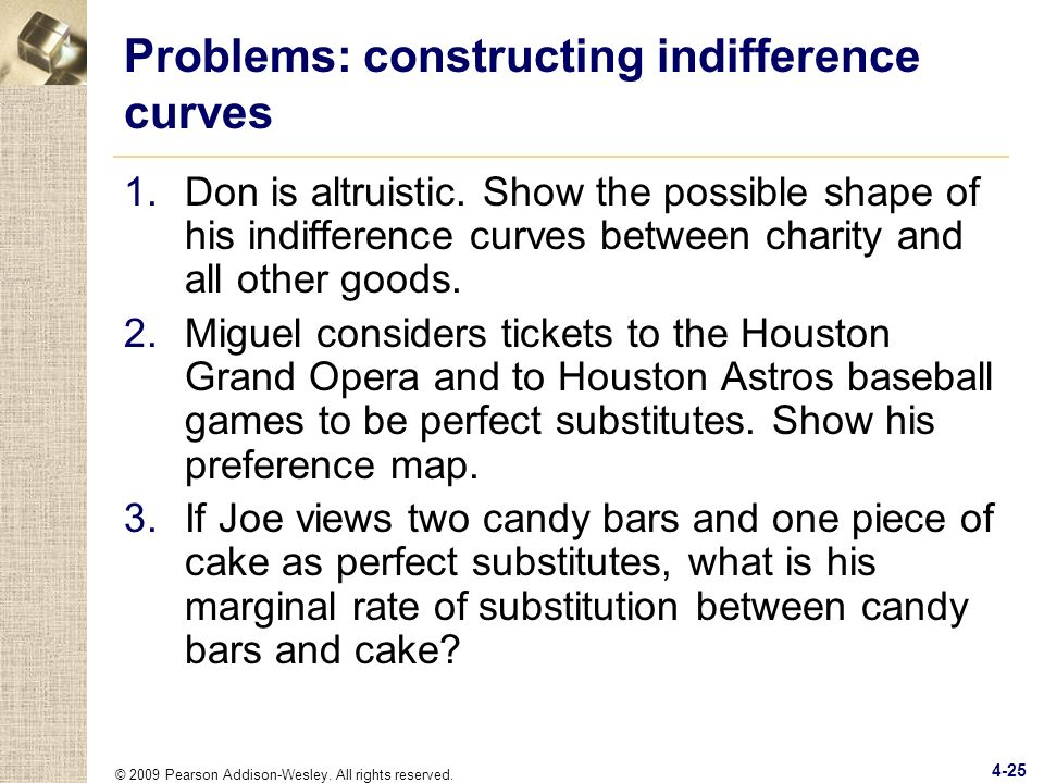 Problems: constructing indifference curves