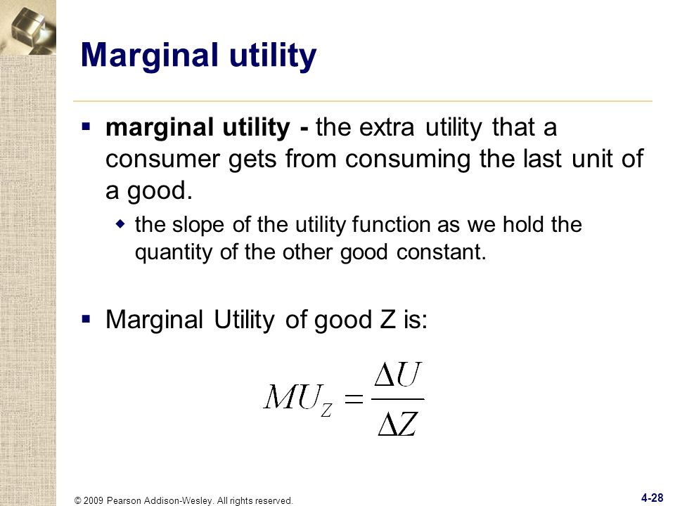 Marginal utility marginal utility - the extra utility that a consumer gets from consuming the last unit of a good.