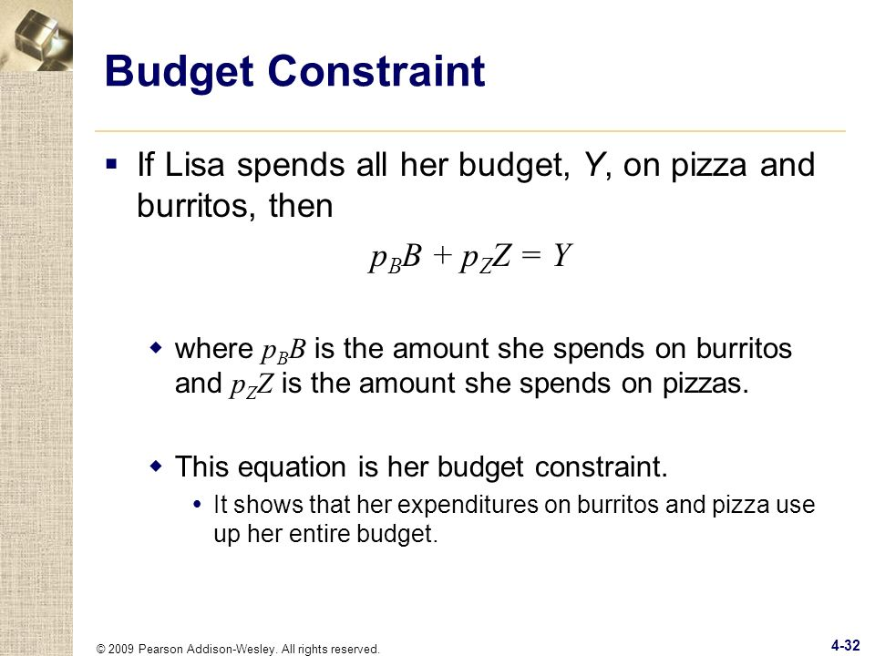 Budget Constraint If Lisa spends all her budget, Y, on pizza and burritos, then. pBB + pZZ = Y.