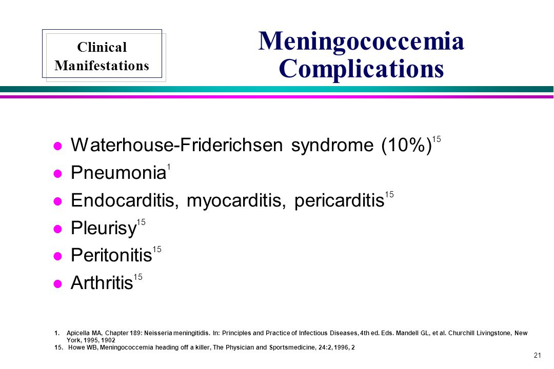 Meningococcemia Complications