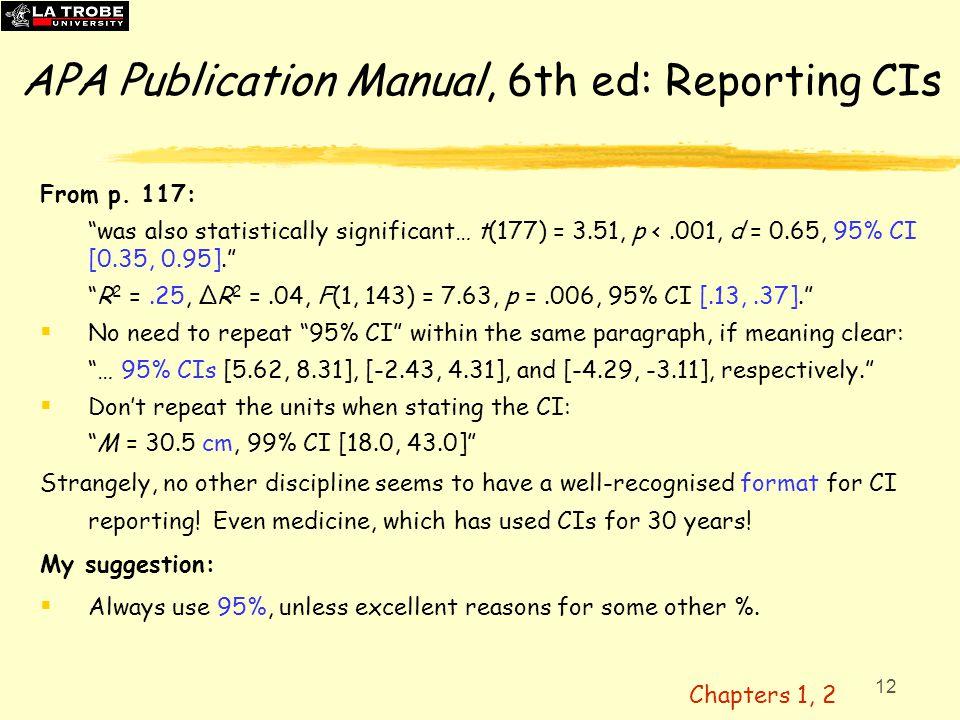 APA Publication Manual, 6th ed: Reporting CIs