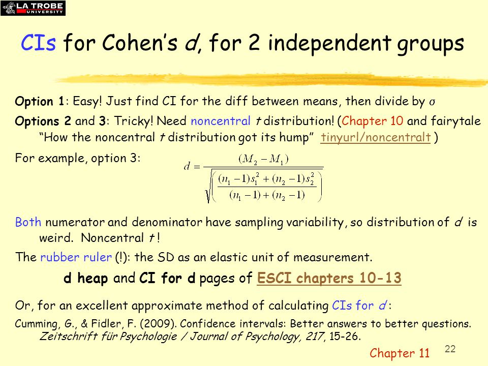 CIs for Cohen's d, for 2 independent groups