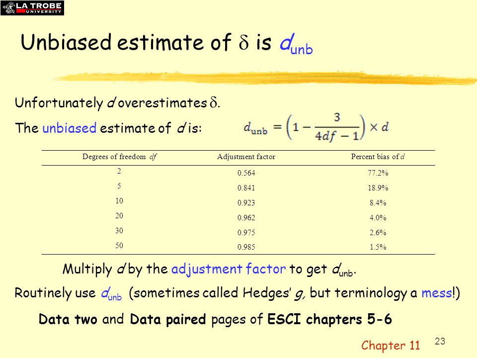 Unbiased estimate of d is dunb