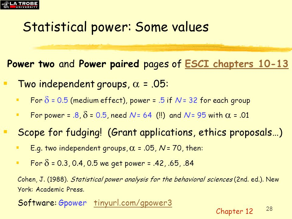 Statistical power: Some values