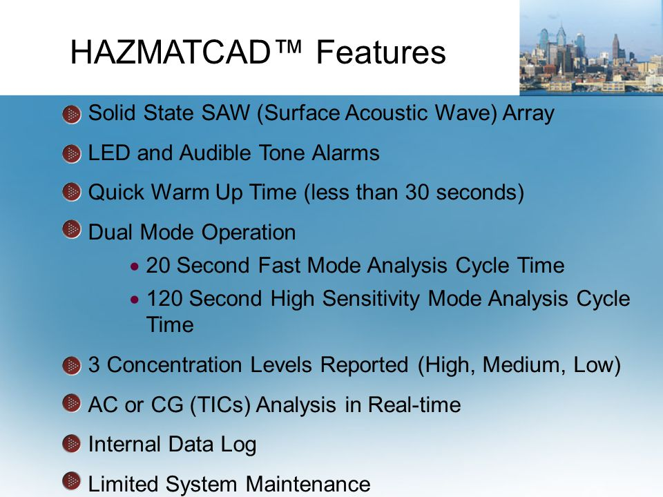 HAZMATCAD™ Features Solid State SAW (Surface Acoustic Wave) Array