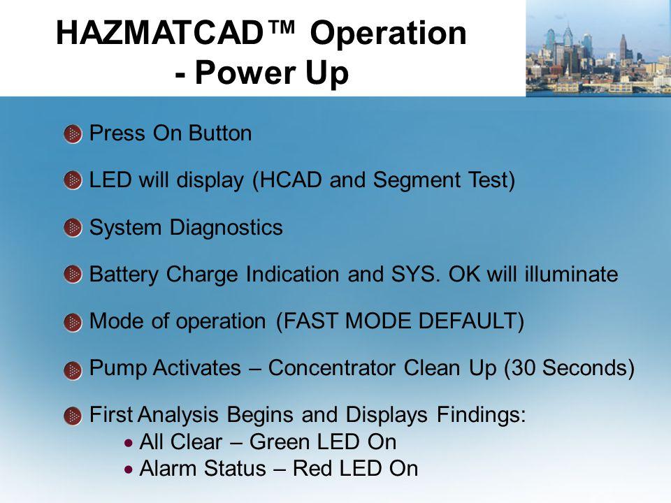 HAZMATCAD™ Operation - Power Up