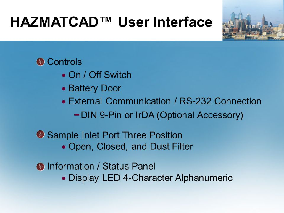 HAZMATCAD™ User Interface