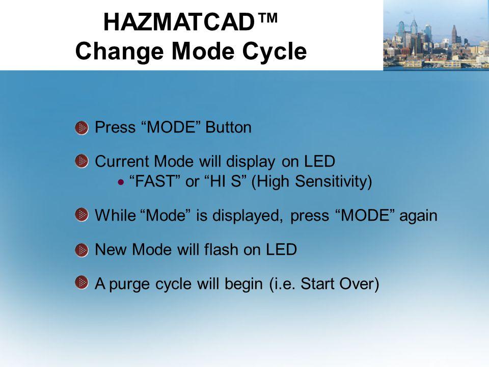 HAZMATCAD™ Change Mode Cycle