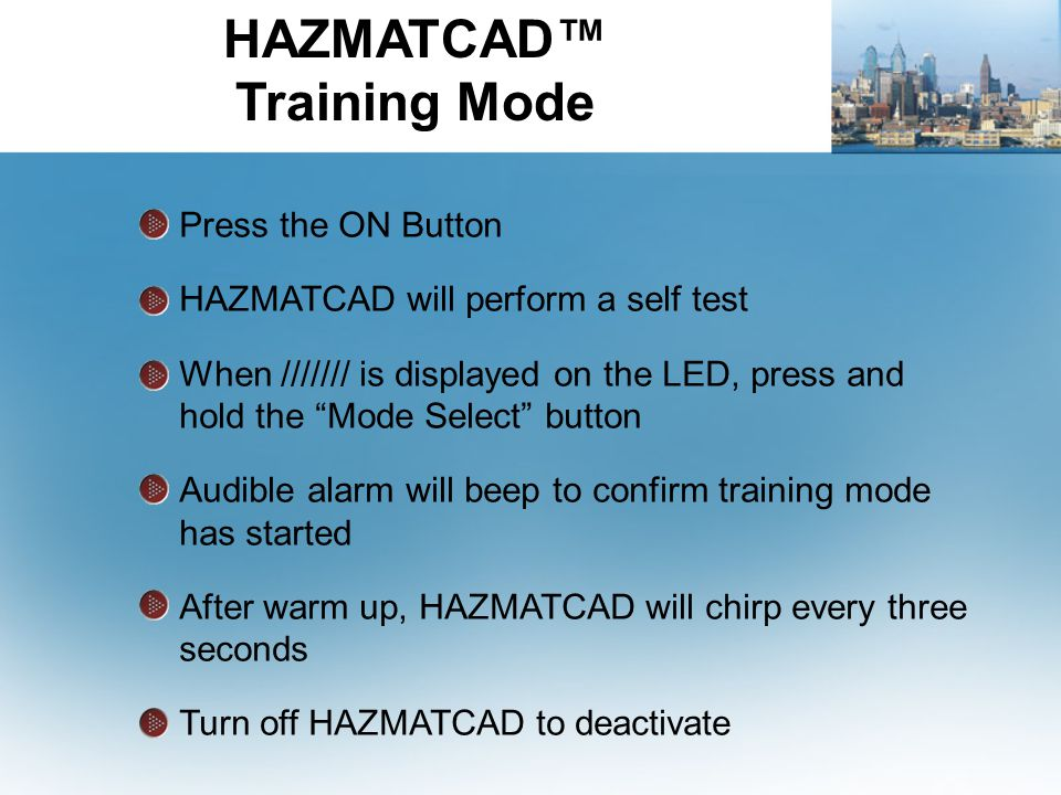 HAZMATCAD™ Training Mode