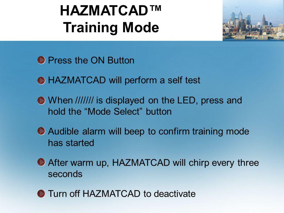 HAZMATCAD™ Training Mode