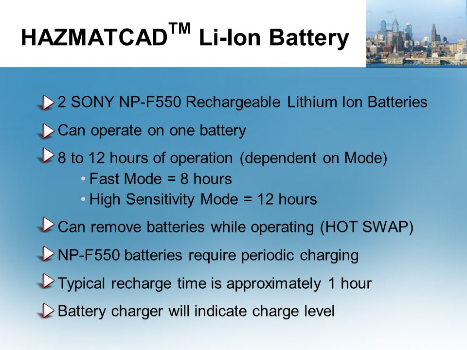 HAZMATCADTM Li-Ion Battery