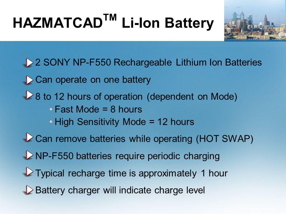 HAZMATCADTM Li-Ion Battery