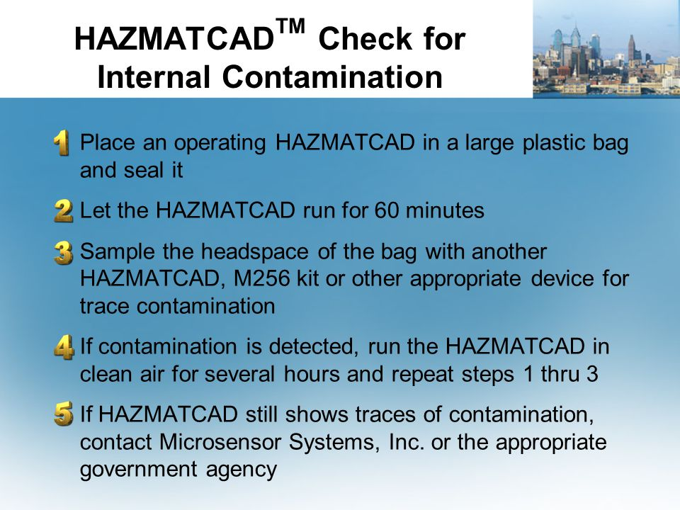 HAZMATCADTM Check for Internal Contamination