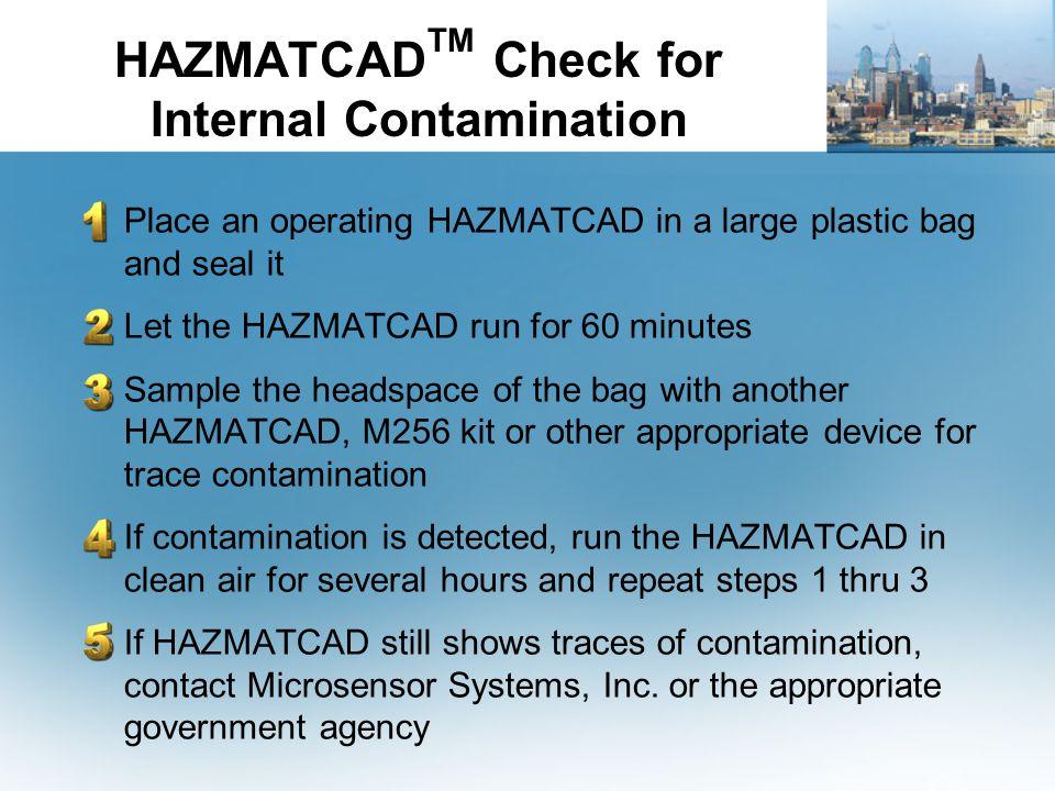 HAZMATCADTM Check for Internal Contamination