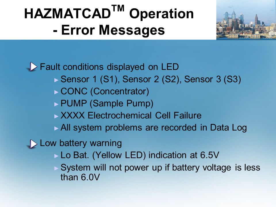 HAZMATCADTM Operation - Error Messages