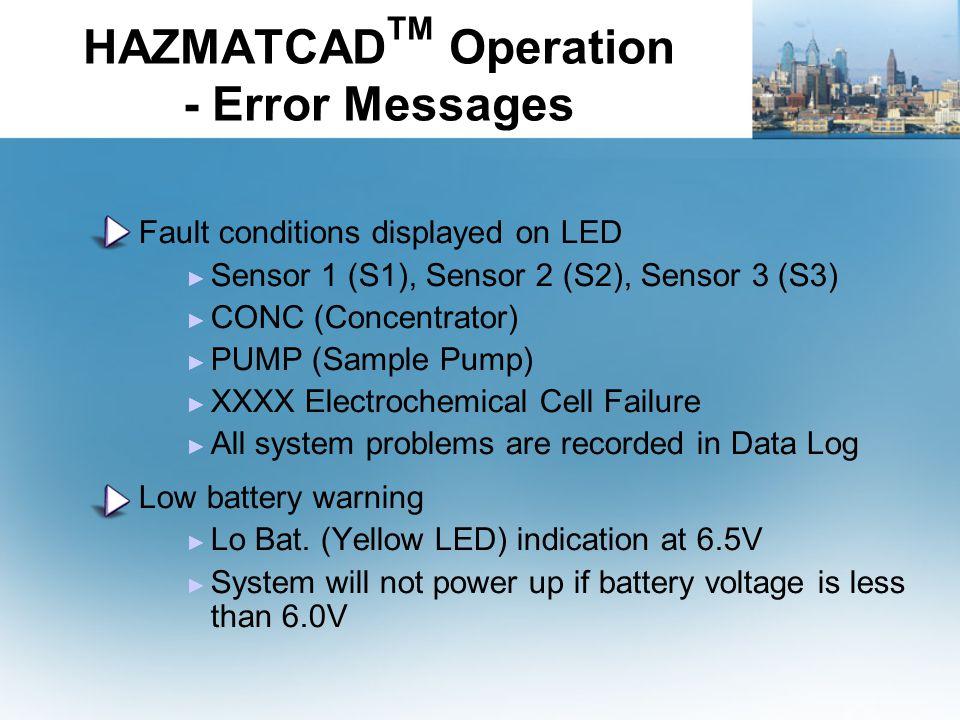 HAZMATCADTM Operation - Error Messages