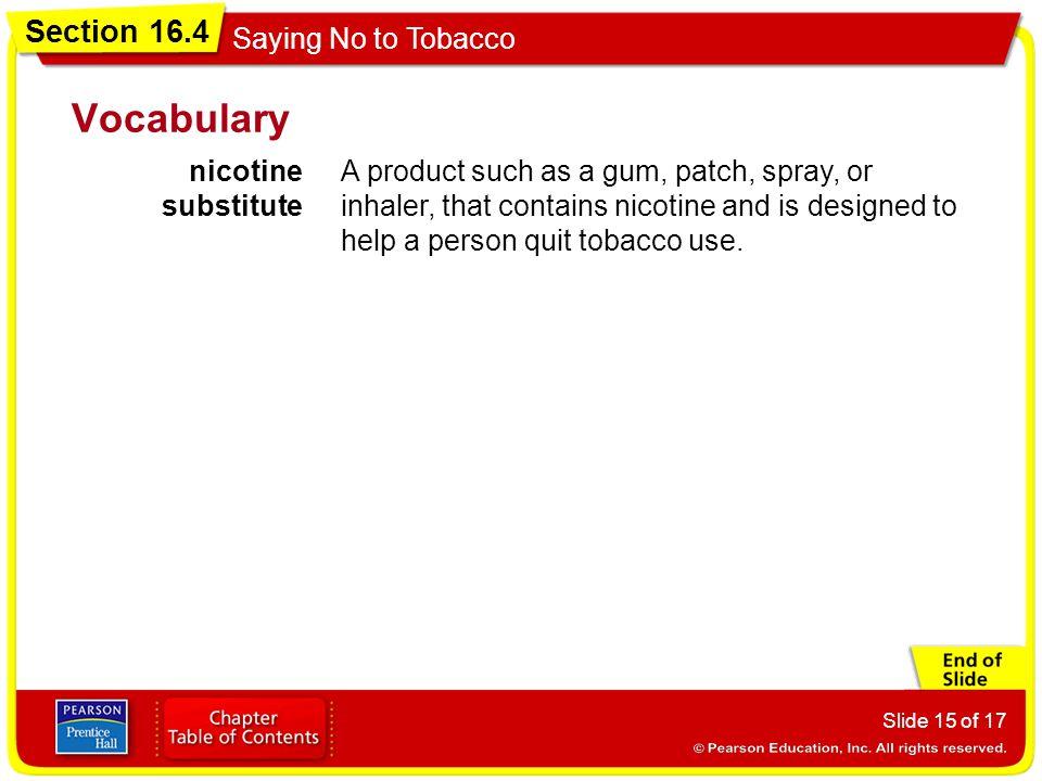 Vocabulary nicotine substitute