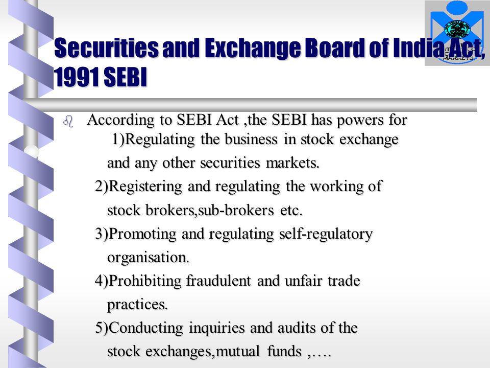 Securities and Exchange Board of India Act, 1991 SEBI