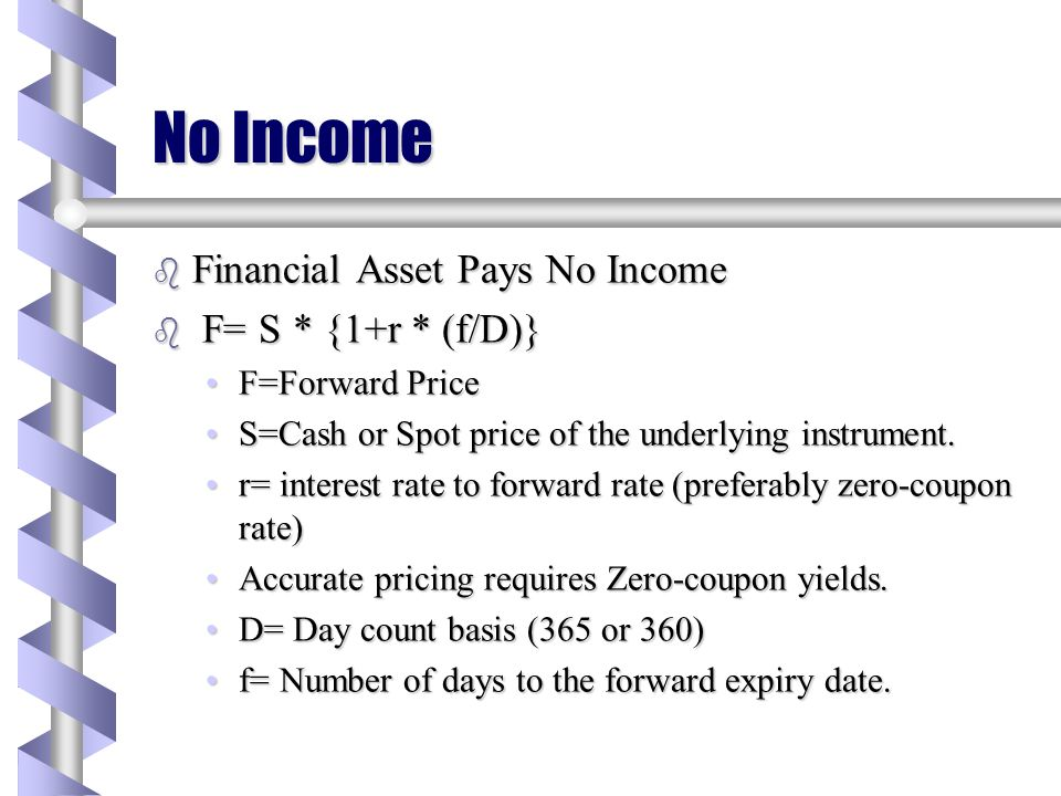 No Income Financial Asset Pays No Income F= S * {1+r * (f/D)}
