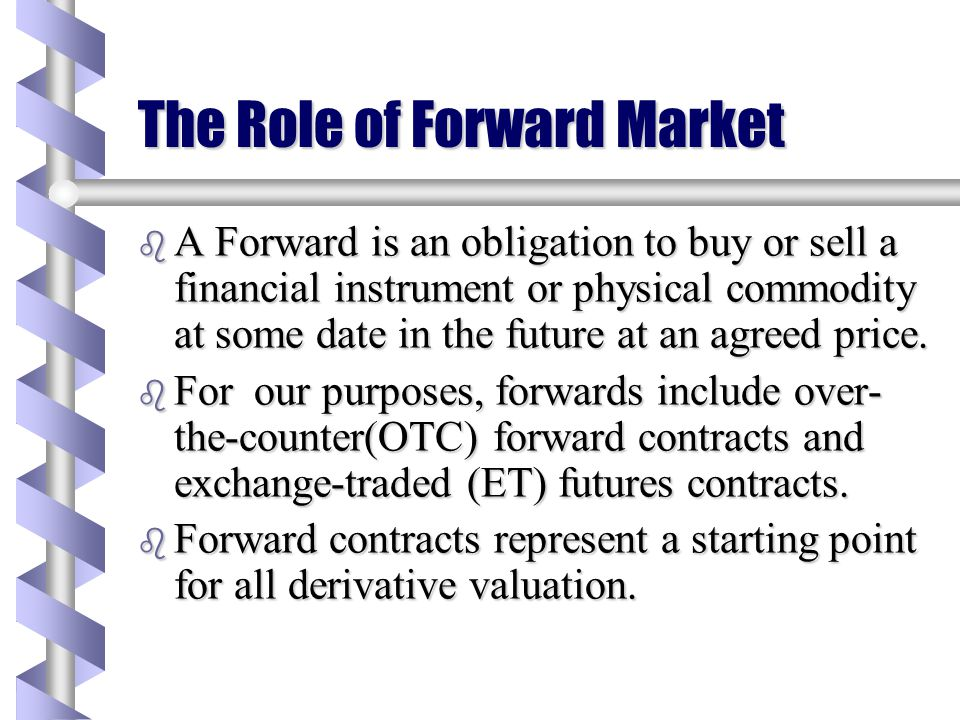 The Role of Forward Market