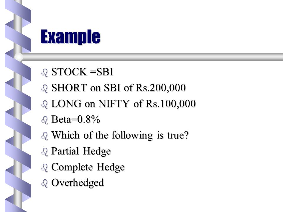 Example STOCK =SBI SHORT on SBI of Rs.200,000