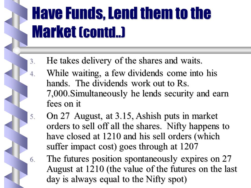 Have Funds, Lend them to the Market (contd..)