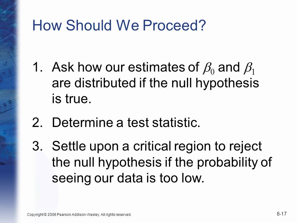 How Should We Proceed Ask how our estimates of b0 and b are distributed if the null hypothesis is true.