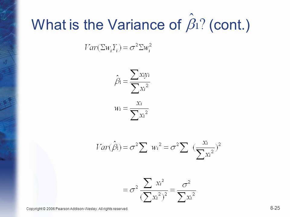 What is the Variance of (cont.)