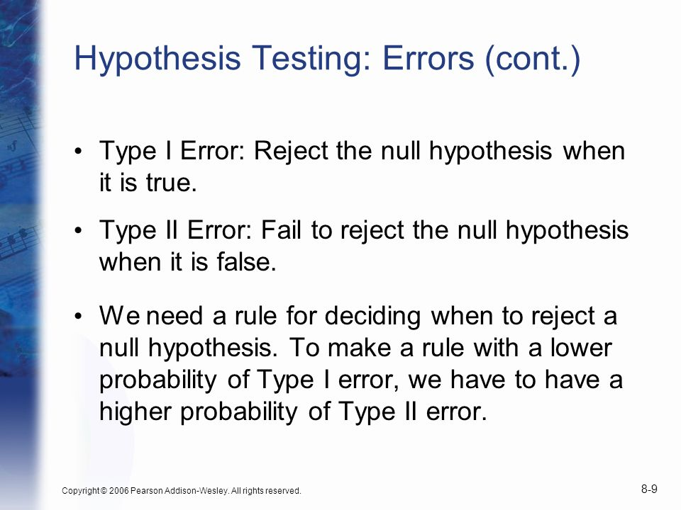 Hypothesis Testing: Errors (cont.)