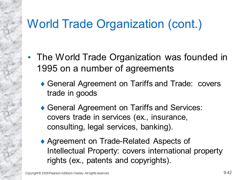 World Trade Organization (cont.)