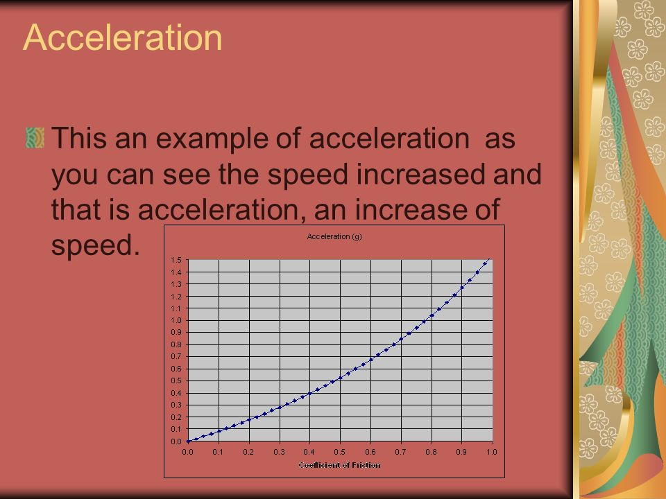 AccelerationThis an example of acceleration as you can see the speed increased and that is acceleration, an increase of speed.
