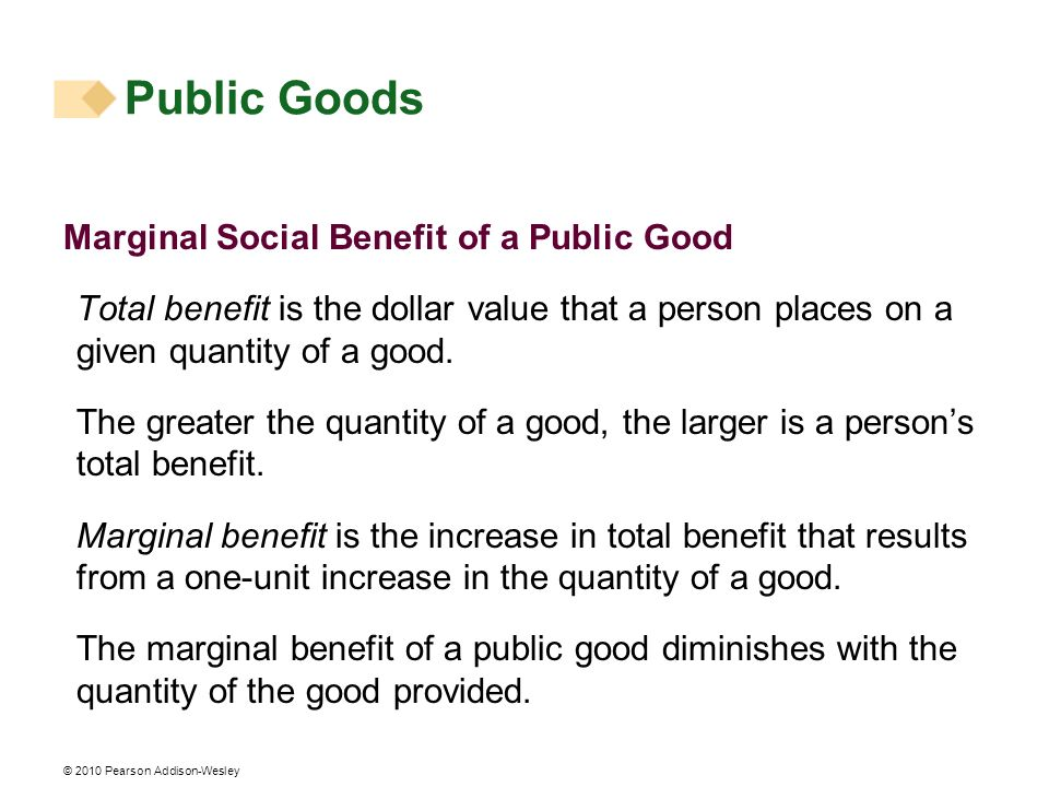 Public Goods Marginal Social Benefit of a Public Good