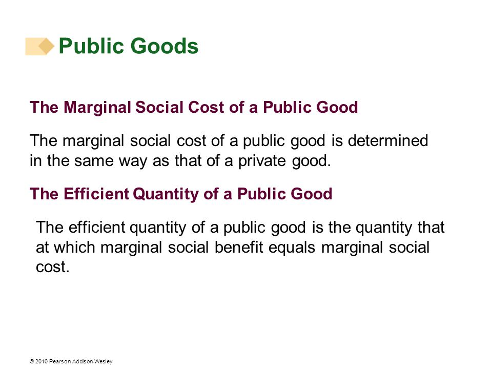 Public Goods The Marginal Social Cost of a Public Good