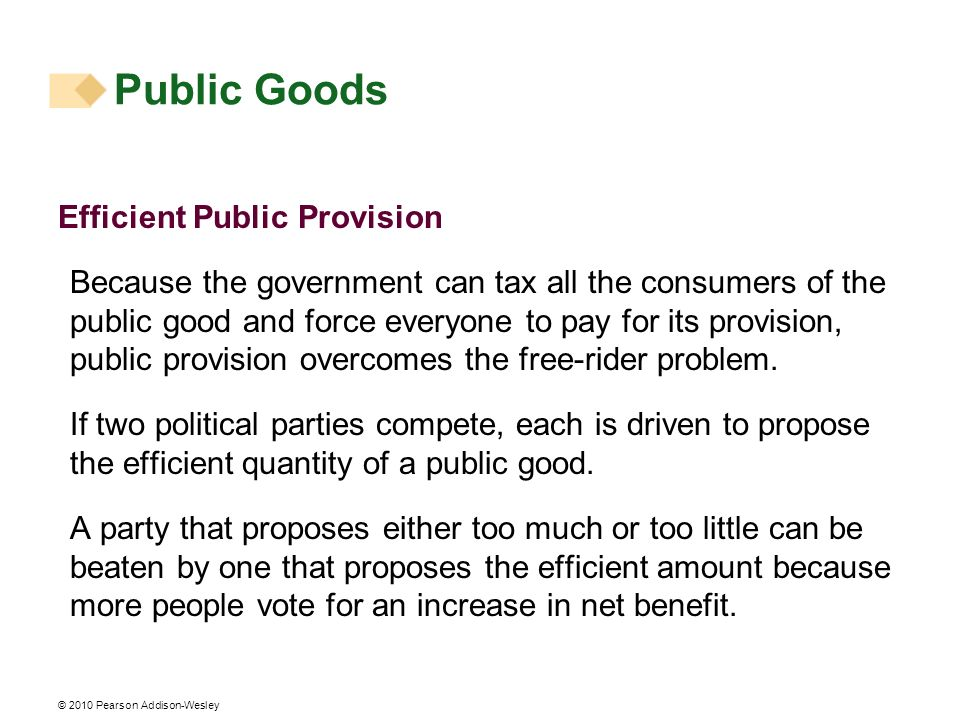 Public Goods Efficient Public Provision