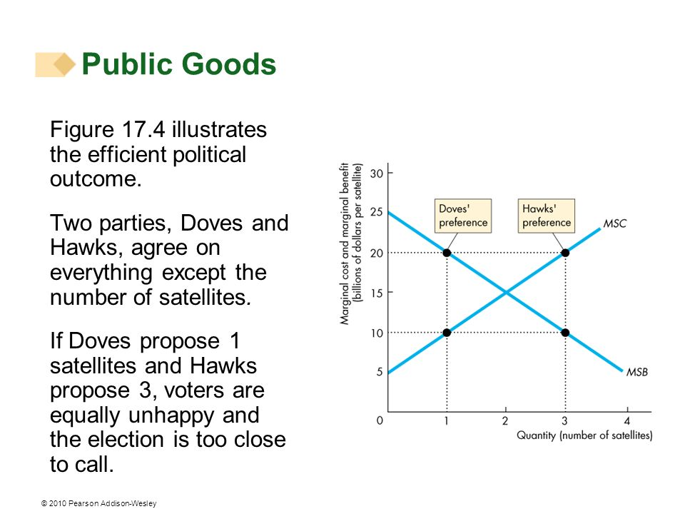 Public Goods Figure 17.4 illustrates the efficient political outcome.