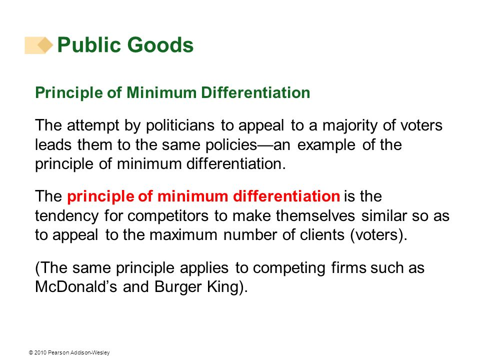 Public Goods Principle of Minimum Differentiation