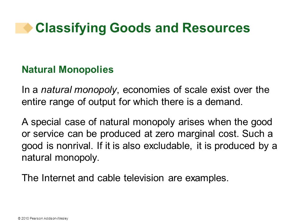 Classifying Goods and Resources