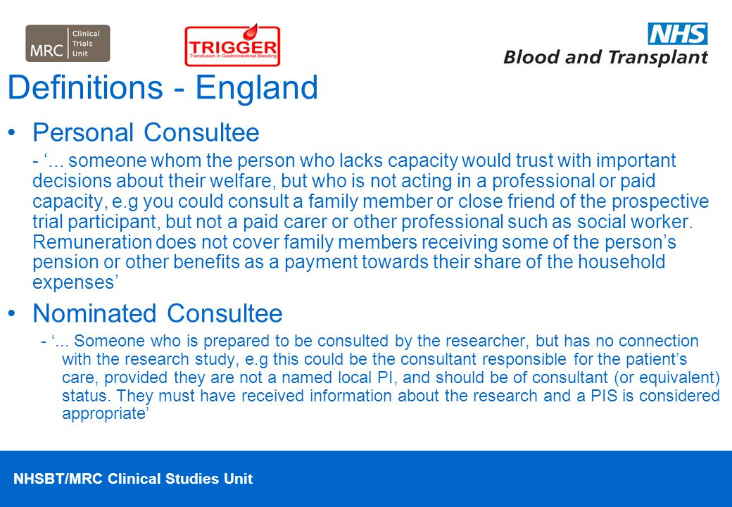Definitions - England Personal Consultee Nominated Consultee