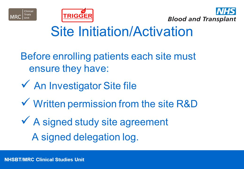 Site Initiation/Activation