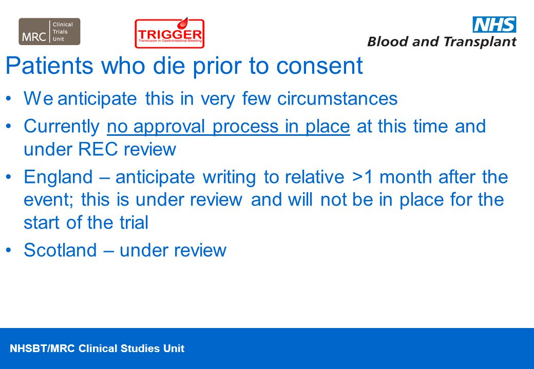 Patients who die prior to consent
