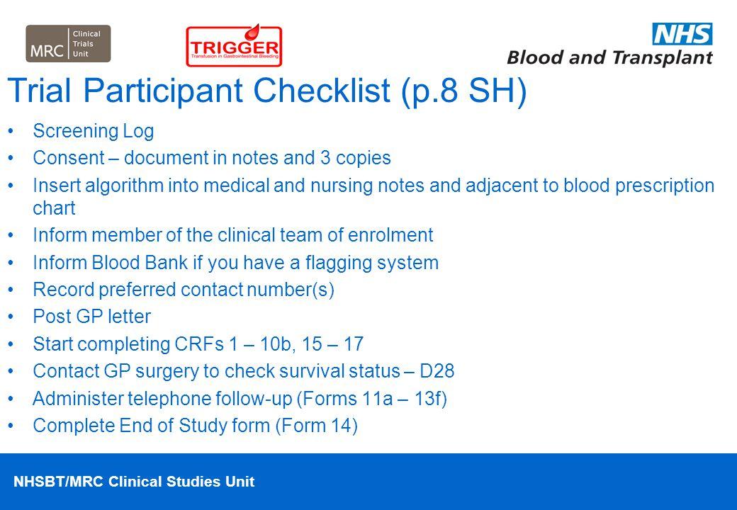Trial Participant Checklist (p.8 SH)