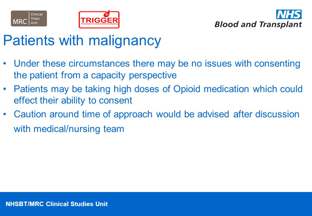 Patients with malignancy