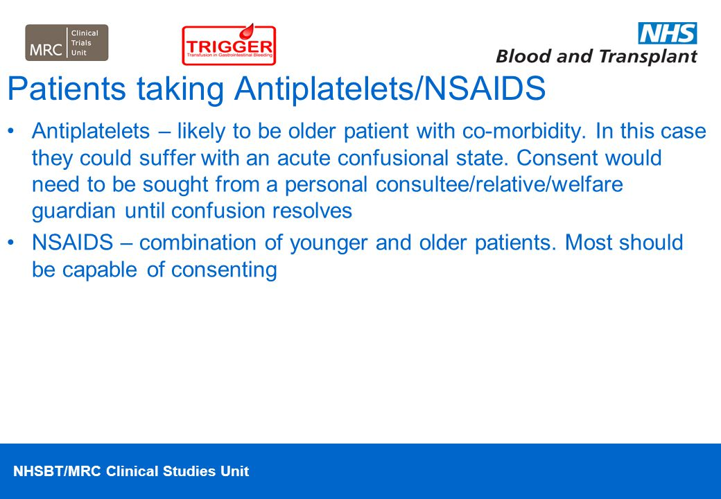 Patients taking Antiplatelets/NSAIDS