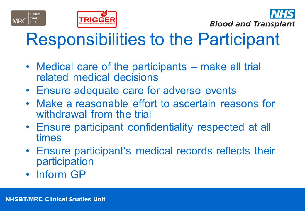 Responsibilities to the Participant