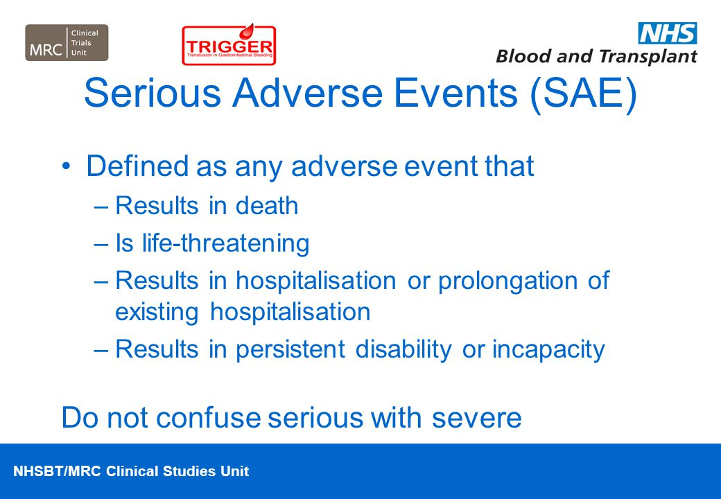 Serious Adverse Events (SAE)