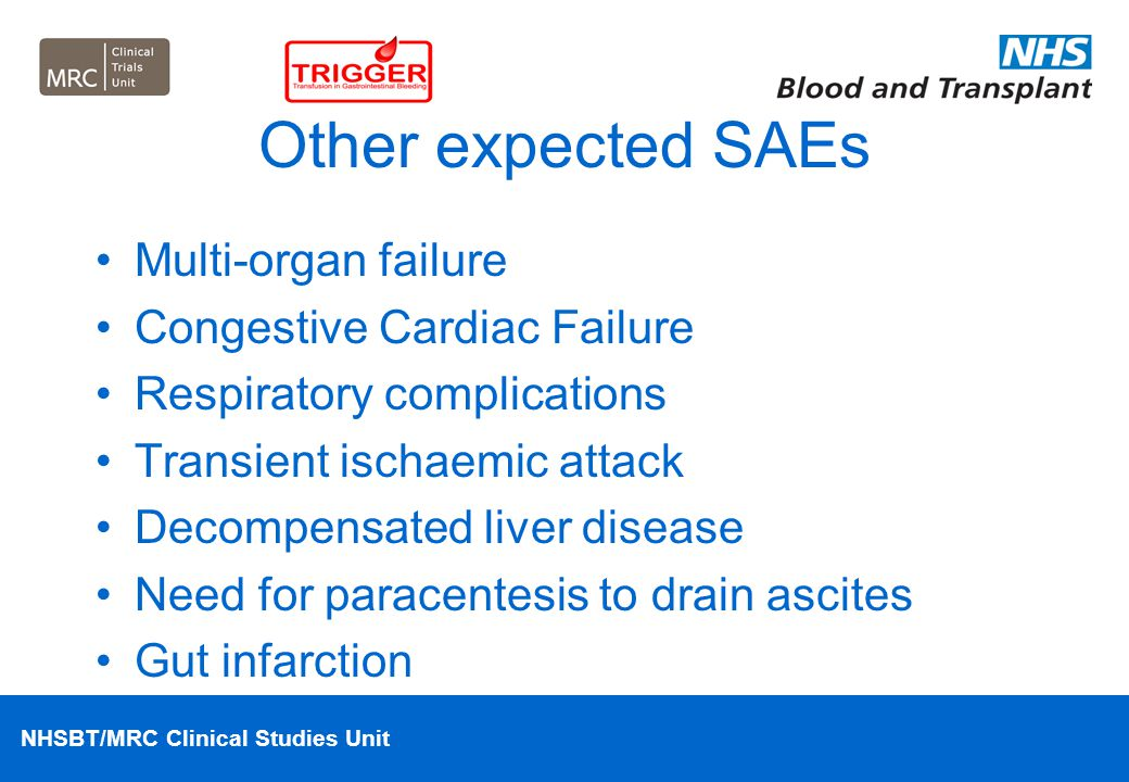 Other expected SAEs Multi-organ failure Congestive Cardiac Failure
