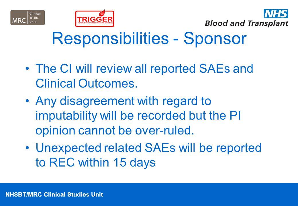 Responsibilities - Sponsor